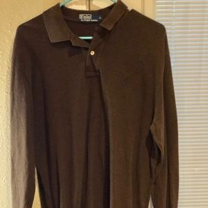 Ralph Lauren Shirts - Ralph Lauren: Brown long sleeve polo, L